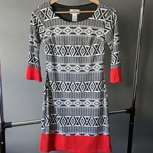 NWT Geometric Pattern Print Red Black White Dress